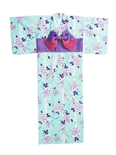 [ニューリミー] Newlyme ドット バラファンシー柄 花流れ柄 高級 平織り 浴衣 帯 2点セット F バラ柄ミントグリーン レディース