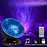 K KBAYBO Remote Control Ocean Wave Projector 12 LED &7 Colors Night Light Projector with Built-in Mini Music Player for Living Room and Bedroom (Black)