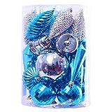 Partyforte Christmas HL18-HVSHAPESVBL 30pc Assorted Shape Baubles, Silver and Blue