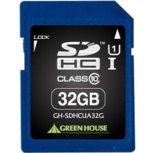 グリーンハウス SDHCメモリーカード UHS-I クラス10 32GB GH-SDHCUA32G