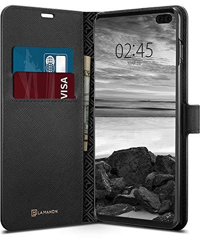 【Spigen x LA MANON】 スマホケース Galaxy S10 Plus ケース カード収納付き スタンド機能 ウォレットサフ...