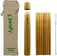 Zenify Bamboo Reusable Straws Set 8x20cm & Case Travel Bag + Cleaner Brush, Biodegradable Eco Friendly Compostable Drinking