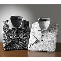 (ピエルッチ)pierucci リーフ柄 半袖 ポロシャツ 2色組 NE-021 (L)