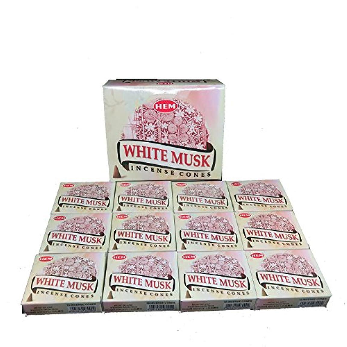 ホイッスル不明瞭機知に富んだHEM ホワイトムスク香 コーンタイプ 12ケース(1ケース10個入り)White musk