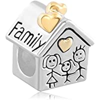 Jesse Ortega 925 Sterling Silver Family House Heart Love Charms fit Bracelet