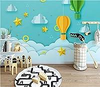 Minyose 3D壁紙カスタムオリジナルのシンプルな漫画三次元ペーパーカット星白い雲熱気球子供の家の壁の壁画-200cmx140cm