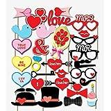 BinaryABC バレンタインデー 写真ブース用小道具 バレンタインデー パーティー 記念品 結婚式 バレンタインデー デコレーション 32個