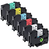 Airmall 6X TZ Label Tapes Compatible with Brother TZe 131 231 431 531 631 731 12mm x 8m Laminating Tape for Brother P-Touch Label Maker, Black Print on Clear/White/Red/Blue/Yellow/Green
