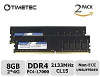 Timetec Hynix IC 8GB(4GBx2枚) デスクトップPC用メモリ DDR4 2133MHz PC4-17000 Single Rank 288 Pin UDIMM 永久保証 8GB(4GBx2枚)