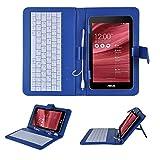 【KuGi】 Ployer MOMO7W キーボードケース 【microUSB】7インチ タブレットPC用キーボードとケース一体型 Ployer MOMO7W 7インチ 対応 マイクロUSBインターフェイスキーボード付きレザーケース スタンド機能付き セットすればノートパソコンのように早変わり (Ployer MOMO7W, ブルー)