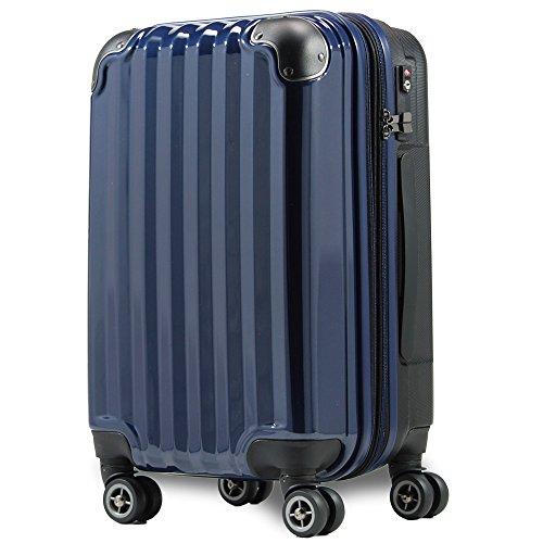 スーツケース 機内持込 300円コインロッカー 軽量 容量アップ拡張機能付 8輪 ダブルキャスター TSAロック s 小型 ハードキャリー ファスナータイプ キャリーバッグ キャリーケース (Sサイズ(機内持込36L~40L), ネイビー)