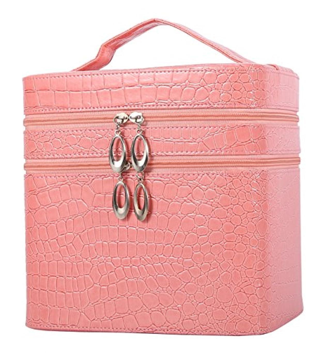 所有権画像レトルトHOYOFO メイクボックス コスメ収納 大容量 おしゃれ 化粧入れ 収納ケース 鏡付き 二段式 ギフト ピンク