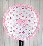 【ノーブランド品】 かわいい ラブリー系 リボン × チェック フリル付き 扇風機カバー 2枚セット