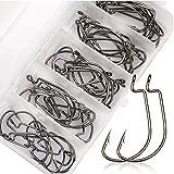 フィッシュフック 管付 ケン付き オフセットフック ワームフック 50個 セット ケース付き 釣具 サイズ 2# 1# 1/0# 2/0# 3/0# シルバー