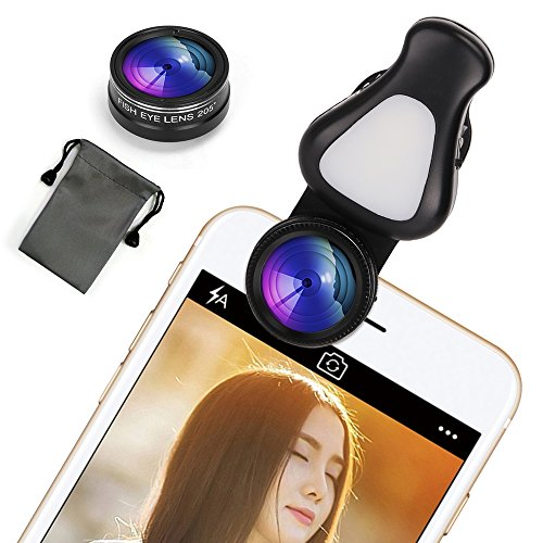 スマホ カメラレンズ (15Xマクロ + 0.62X広角レンズ + 205°魚眼) スマホ用カメラレンズキット 4in1 クリップ式 自撮りライト iPhone / Samsung / Sony / Android スマートフォン、タプレットなどに対応 (ブラック)