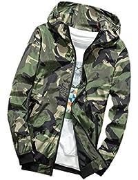 chenshiba-JP 男性の風防のhoodies迷彩プリントジップ正面ジャケット軽量コート