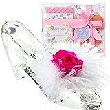 TEATSIGHT プリザーブドフラワー 花とスイーツ ギフトセット ガラスの靴 バラ ピンク 羽根