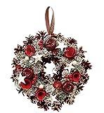 丸和貿易  クリスマス リース シャインパールローズ  (L)  壁掛け  玄関飾り    4008740-02