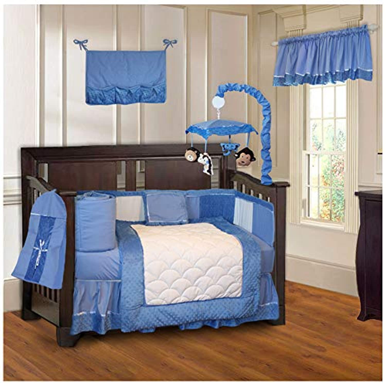 BabyFad Minky Blue 10 Piece Baby Crib Bedding Set by BabyFad