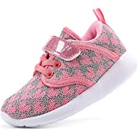 EIGHT KM Boys and Girls Toddler Kids EKM7026 Lightweight Breathable Sparkly Fabric Trainers School Shoes