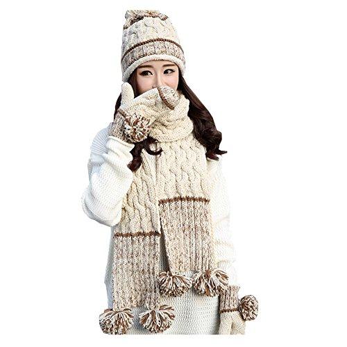 ニット帽 レディース マフラーと手袋付き 帽子 可愛い 秋冬 防寒 ポンポン 三つセット (ベージュ)