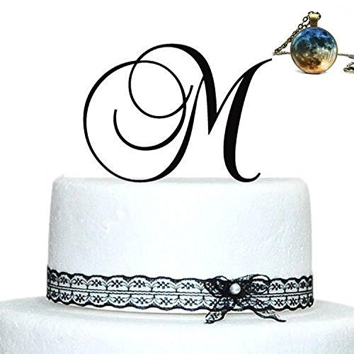 Buythrow Personalized Acrylic Wedding Initial Cake Topper in any letter A B C D E F G H I J K L M N O P Q R S T U V W X Y Z Silver by buythrow cake topper