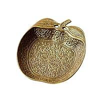 プレート トレー トレイ 真鍮 小物 皿 金属製 ゴールド シルバー レトロ りんご おしゃれ アンティーク アクセサリートレイ ブラスアップルプレート [kan2272] (A)