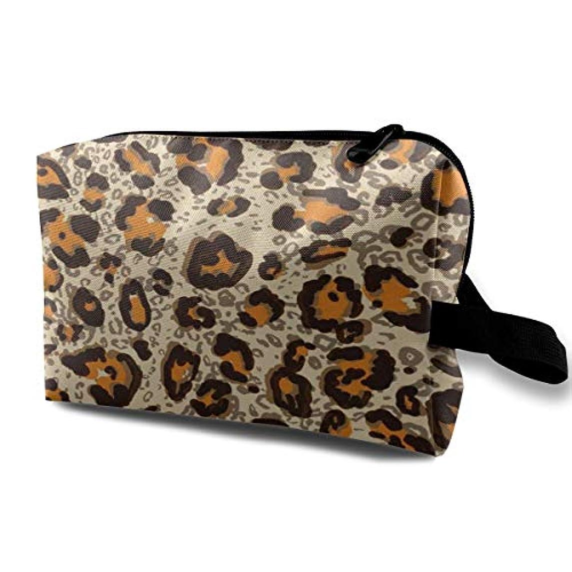 より良い居住者読みやすさArt Leopard Skin 収納ポーチ 化粧ポーチ 大容量 軽量 耐久性 ハンドル付持ち運び便利。入れ 自宅?出張?旅行?アウトドア撮影などに対応。メンズ レディース トラベルグッズ