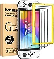 [4枚入り] [Switch 有機ELモデル対応] iVoler Switch 有機ELモデル /Switch OLED 保護 ガラスフィルム スイッチ 保護フィルム[ガイド枠付き] 日本硝子素材 強靭9H 3Dラウンド