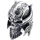 KONOV ジュエリー ファッション アクセサリー メンズ リング 指輪, バイカーズ ゴシック トライバル 牙狼 悪魔 髑髏 頭蓋骨 ドクロ スカル, ステンレス, カラー:ブラック; シルバー(銀);[ギフトバッグを提供]