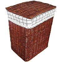 ラダンランドリーバスケットコットンライニング蓋汚れたハンパーの服雑貨の収納バスケットブラウン (サイズ さいず : 37 * 26 * 49cm)
