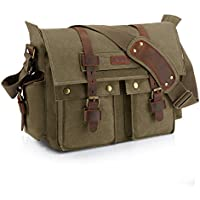 Kattee XZ162AG-FBA-1 British Style Retro Unisex Canvas Leather Messenger Shoulder Bag Fits 14.7 Laptop Army Green