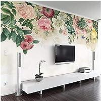 Xbwy 3D壁紙現代の手描きのバラの花の壁画リビングルームのテレビソファの寝室の背景の壁の装飾-200X140Cm