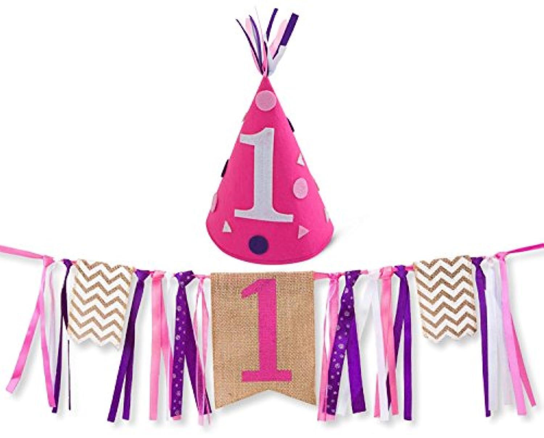 おしゃれでかわいい!女の子用お誕生日デコレーション Happy Birthday  1歳のお誕生日 バーラップ地子供椅子用ガーランド&フエルト帽子セット Girl First Birthday Decorations - 1st Birthday - Burlap Highchair Banner and Felt Hat Pack