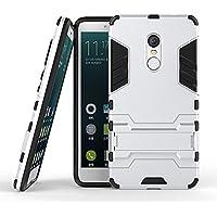 MaiJin Xiaomi Redmi Note 4 / Note 4X (5.5インチ) 保護カバー 2イン1 デュアル ハイブリッド ブラケット機能 耐衝撃ケース (銀)
