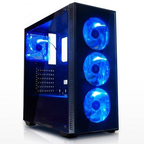 サイズ 強化ガラス採用 ブルーLEDファン4基搭載 ATXミドルタワーPCケース