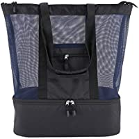 Codream Mesh Beach Bag with Cooler Insulated Picnic Waterproof Zipper Tote Bags for Beach Travel - Black