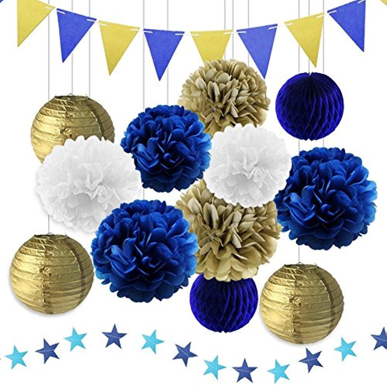 パーティー 飾り付け セット ネイビー ブルー 大人 誕生日 パーティーデコレーション ティッシュペーパーポンポン ペーパーランタン ハニカムボール スター ベビーシャワー 装飾 ブライダルシャワー 17枚セット