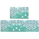 Kitchen Rug Set,LEEVAN PVC Mat Anti Fatigue Waterproof Oil Proof Non-Skid/Slip Rubber Back Washable Doormat Floor Runner Bathroom Area Rug Carpet (18''x29''+18''x59'', Moroccan)