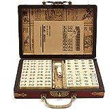 麻雀牌 ポータブル麻雀 レトロスタイル 144枚 中国の麻雀 耐湿気?耐熱 レザ収納ボックス付き 持ち運びが簡単