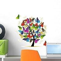 Art Tree with Butterflies by Wallmonkeys Peel and Stick Graphic (18 in W x 17 in H) WM31228 [並行輸入品]