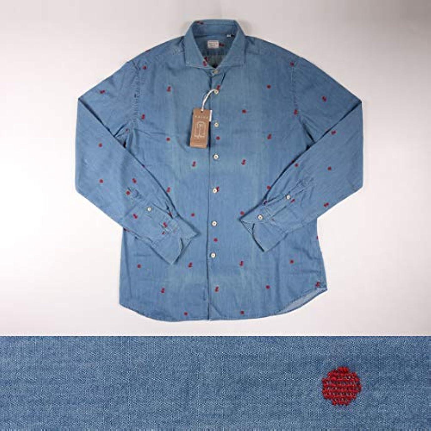 お世話になった耐えられない共産主義者B品 XACUS 刺繍 ロゴ 長袖シャツ 716ML denim x blue 42 B17145【A17145】 ザカス [並行輸入品]