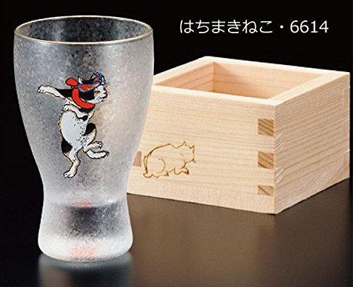 江戸猫ぐらす 枡酒グラス ねこぐらす 100ml はちまきねこ・6614