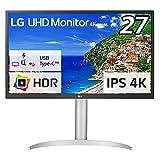 LG モニター ディスプレイ 27UP550-W 27インチ/4K/HDR/IPS非光沢/USB Type-C,HDMI×2,DisplayPort/FreeSync/高さ調節,ピボット対応