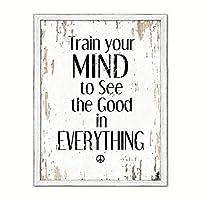 """スポットカラーアートTrain Your Mind to see the good in Everything Quote Sayingキャンバス印刷画像フレームホーム装飾壁アートギフトアイデア 22"""" x 29"""" ホワイト QUOTEWHITE-99120231WH2229WW"""