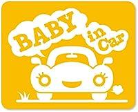 imoninn BABY in car ステッカー 【マグネットタイプ】 No.25 クルマさん (黄色)