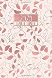 2020 Daily Diary: A5 Day on a Page to View Full DO1P Planner Lined Writing Journal | Pale Baby Pink &Rose Gold Leaves Pattern (2020 Daily Diaries)