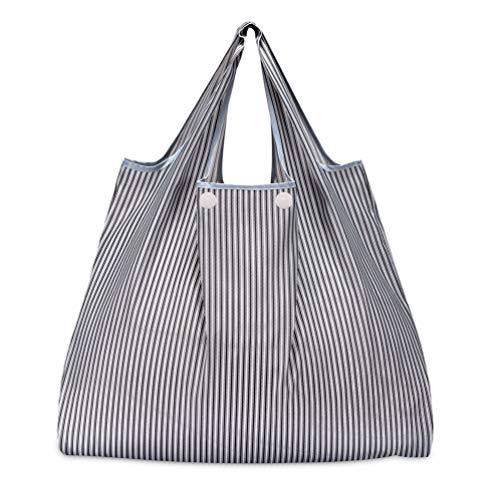 折りたたみ買い物袋 防水素材 (グレーストライプ)