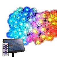 ソーラー イルミネーション スノーボール ストレート LED100球 長さ15m 全3色 リモコン付属 屋外用 防水 大型ソーラーパネル 大容量バッテリー ソーラー充電式 ライト おしゃれ かわいい イルミネーションライト クリスマス ツリー 飾り付け ガーデン 玄関 防滴 キャンプ (レインボー)
