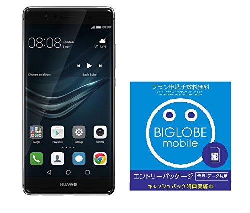 Huawei P9 SIMフリースマートフォン (グレー) 【日本正規代理店品】EVA-L09-GREY & BIGLOBE エントリーパッケージセット